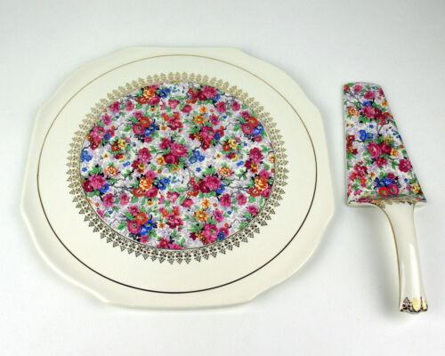 Cake Plate + Server Lord Nelson Marina Chinz flowers vintage earthenware England