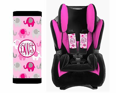 MONOGRAMMED BABY TODDLER CAR SEAT STRAP COVERS PINK ELEPHANT - Toddler Pink Car
