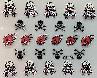 D Halloween (Nail Art 3D Decal Stickers Halloween Flame Skull Glory Bones)
