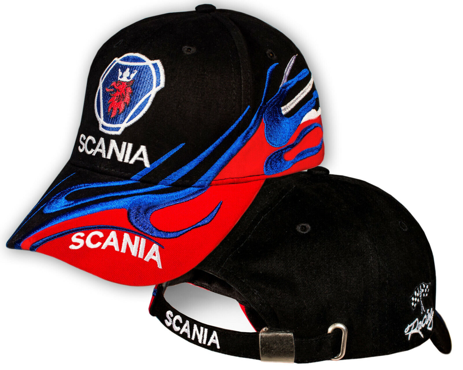 Scania Black Red Baseball Cap Embroidered Truck Logo Hat Men