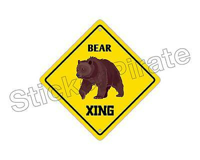 "*Aluminum* Bear Crossing Funny Metal Novelty Sign 12""x12"""