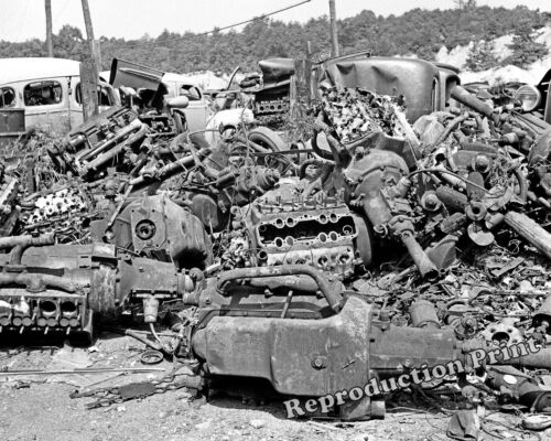 Historical Photograph of a WWII 1941 Auto Junkyard / Scrapyard   8x10