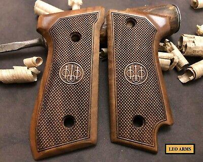 Beretta 92F-92FS  FULL SIZE Turkish Walnut  wood Grips set Big metal logo