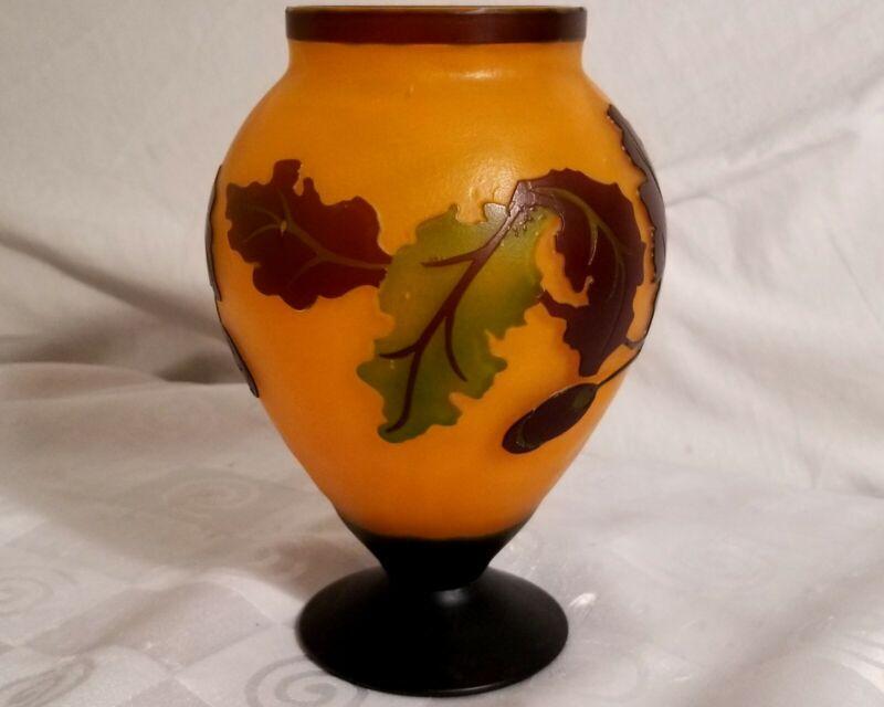 Teleflora Cameo Vase Oak Leaves Acorns in Relief Orange Matte Glass Fall Harvest