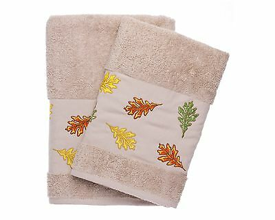 Ebru Bath And Hand Towel Set Best Quality %100 Turkish Cotton Autumn Leaves