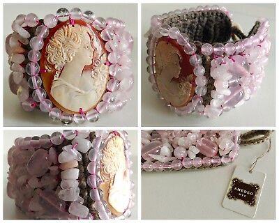 "HSN AMEDEO NYC ""PERLATO"" 40MM Cameo Rose Quartz Pink Gem Stone Bracelet"