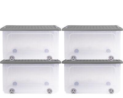 Ondis24 Aufbewahrungsbox Rollerbox Stapelbox Aufbewahrungsbox 50 Liter grau