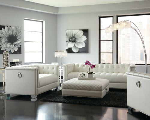 Contemporary Pearl White Leatherette Sofa & Love Seat Living Room Furniture Set