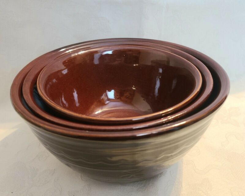 "Vintage Marcrest Stoneware Mixing Bowls Brown Daisy Dots USA 7"", 8"" and 9"" Bowls"