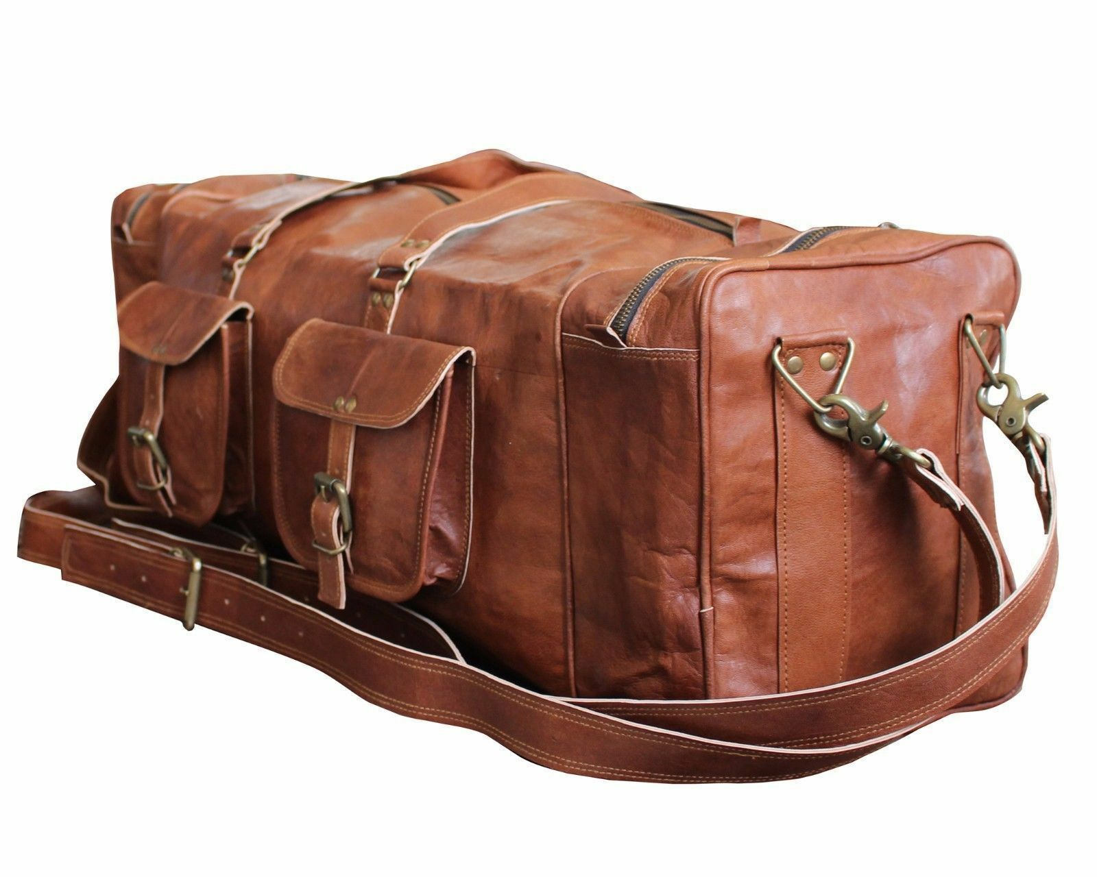 """30"""" Men's genuine Leather luggage gym weekend overnight duff"""