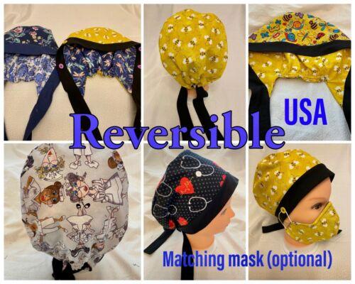 REVERSIBLE Surgical Scrub Cap, Nurse Cap, Work cap, 2 designs in 1 cap/hat--USA