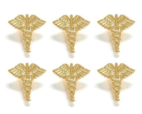 6 pcs. Gold Caduceus Buttons Jesse James Dress It Up Say Ahhh Embellishments