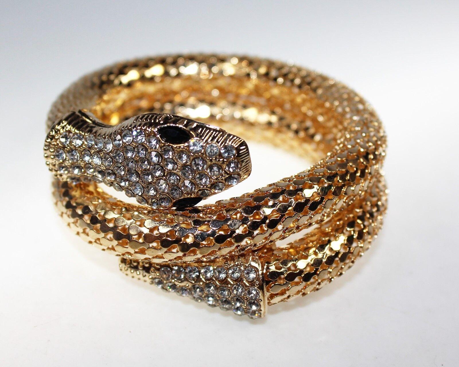 Schlangenarmreif für Bauchtanz, Schlangenarmband, Goldfarbene Schlange, Flexibel