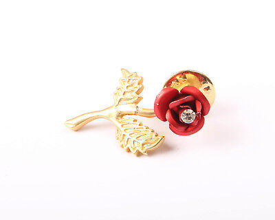 Gold Tone Red Rose Brooch/Pin with Clear Rhinestone, Vintage 1970s