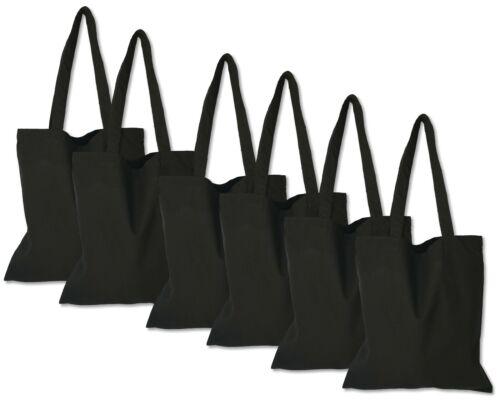 6 Pack - Black Tote Bag - 100% Cotton Canvas   blank Bulk   reusable   DIY arts