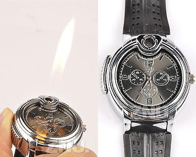 1 Mode Unisex Herren Armbanduhr HERRENUHR Mit Feuerzeug SILBER UHR LEICHTER  online kaufen