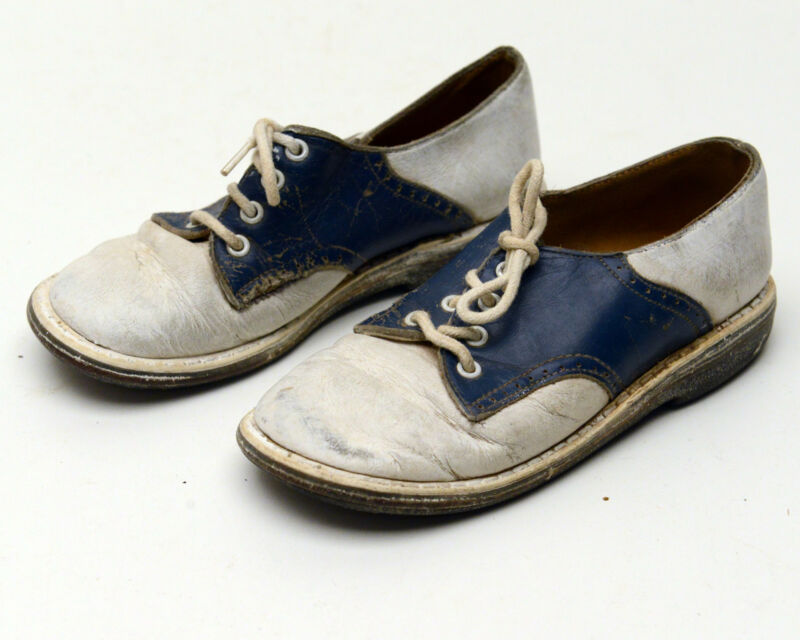 Vintage Childrens Shoes Leather Beautiful Blue and White