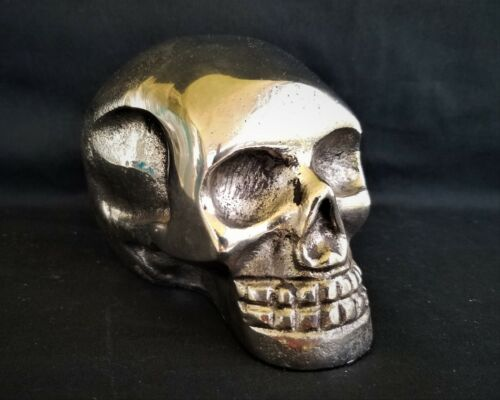 "5.25"" Skull Paper Weight Silver Tone Metal Polished Macabre Halloween Skeleton"