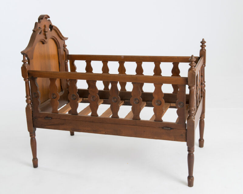 Antique, Walnut, Victorian Baby Cradle with never before uses custom matress
