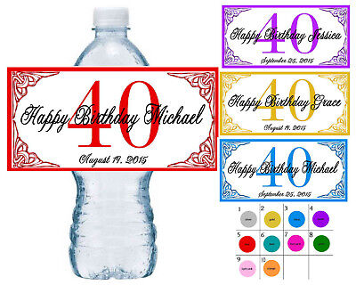 Personalized 40th Birthday Favors (20 ~ 40TH BIRTHDAY PARTY FAVORS WATER BOTTLE LABELS ~ PERSONALIZED)