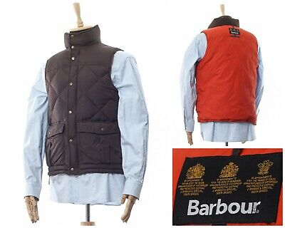 Mens BARBOUR Feather Down Puffer Vest Gilet Waistcoat Quilted Brown Size M