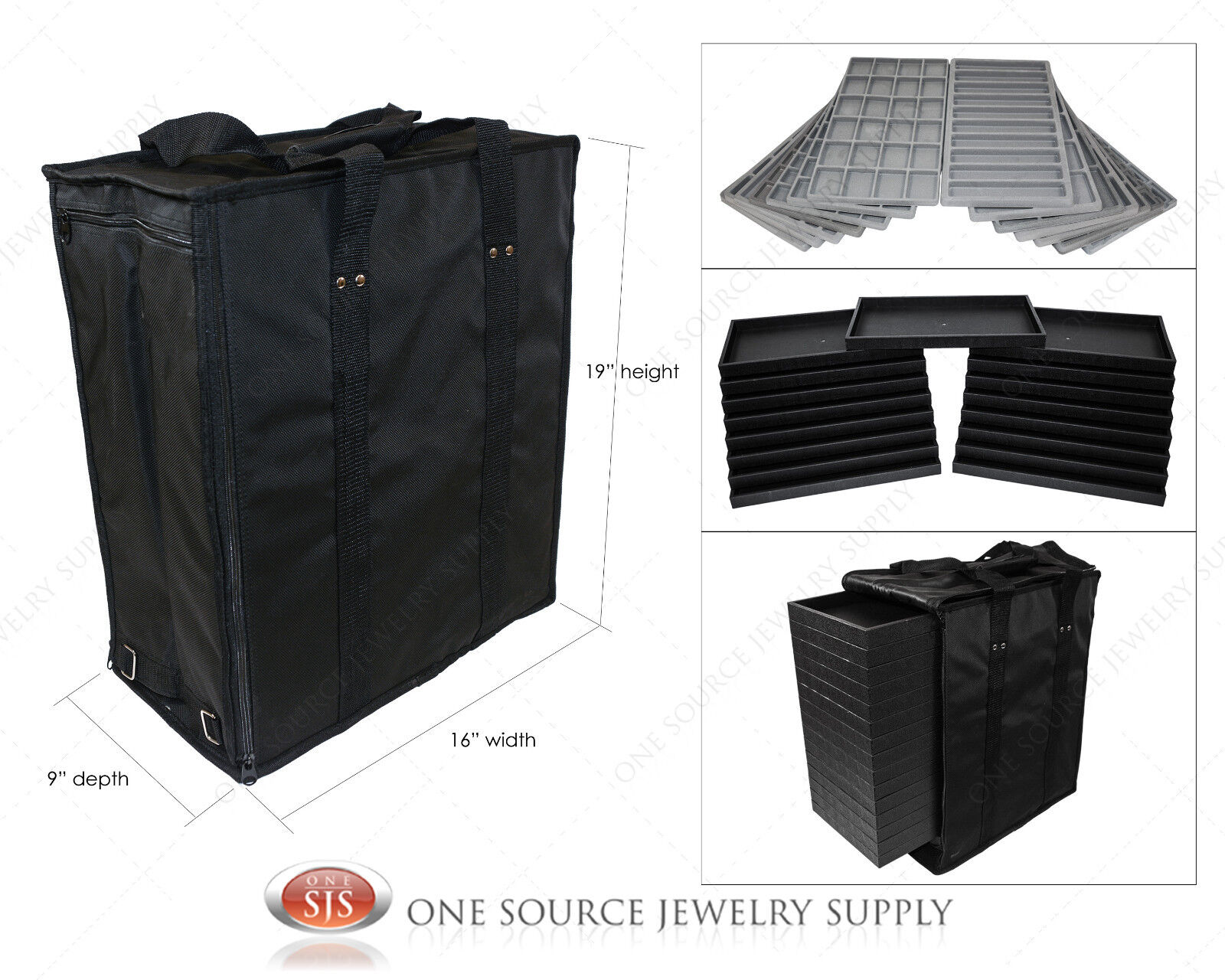 Large Jewelry Carrying Case Salesman Black Travel Case & ...
