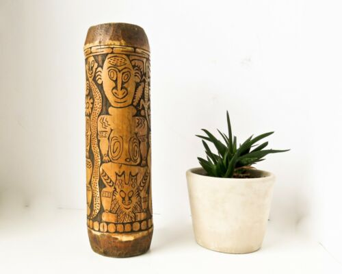 Antique Bamboo Vase, Japanese Brush Pot, 12