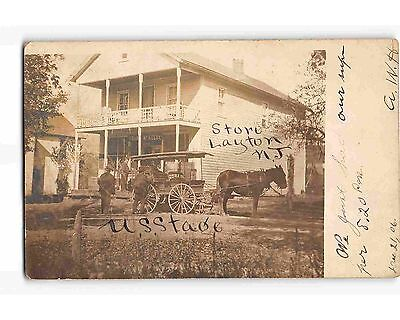 St1613b  Stage Coach At Layton Nj Store  Rppc Postcard 1906 Pm