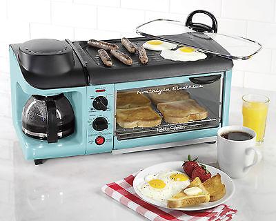 Nostalgia Bset300blue Retro Series 3 In 1 Breakfast Station  Blue