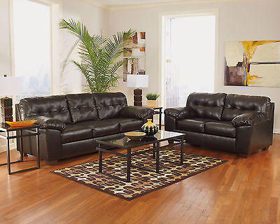 LAWRENCE Living Room Couch Set Furniture - Brown Bonded Leather Sofa Loveseat