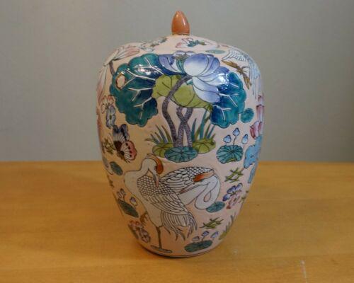 """Vintage 12"""" Chinese Porcelain  Relief Crane Ginger / Jar  Signed"""