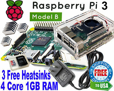 Raspberry Pi 3 Model B+ 1GB RAM 1.4Ghz Clear Case w/ fan AC 8GB SD NOOBS WIFI