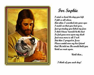 Bulldog Memorial Picture w/Jesus/Poem Personalized w/Dog's Name -Pet-Loss Gift