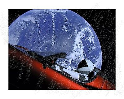Spacex   Telsa In Space   Elon Musk   Rocket Launch 16X20 Inch