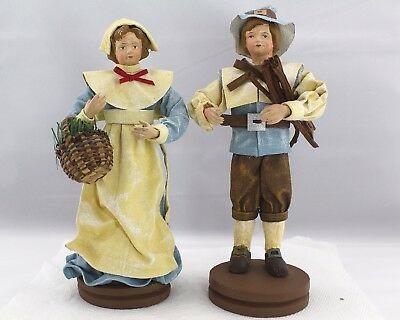 "Silvestri Figurines Handcrafted Pilgrims Boy & Girl 9.5"" / 9"" Thanksgiving"