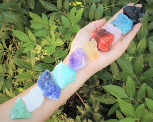 Beginners Crystal Kit 10 pcs in Velvet Pouch: Most Popular Rough Crystals Medium