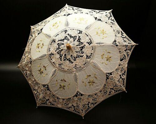 "20""  Ivory Gold Wedding Lace Linen Parasol Umbrella Bridal Shower Party Decor"