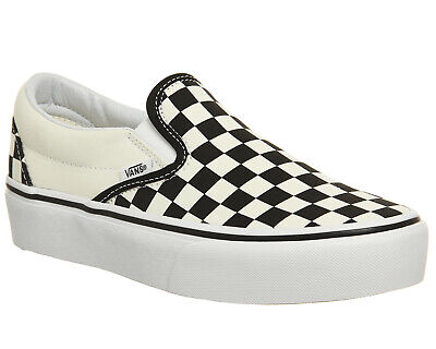Womens Vans Classic Slip On Platform Trainers Black White Checker Trainers Shoes