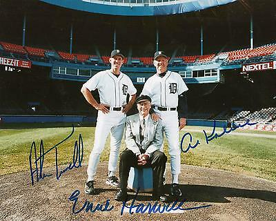 ERNIE HARWELL AL KALINE ALAN TRAMMELL Detroit Tigers pp SIGNED 8x10 Photo RIP