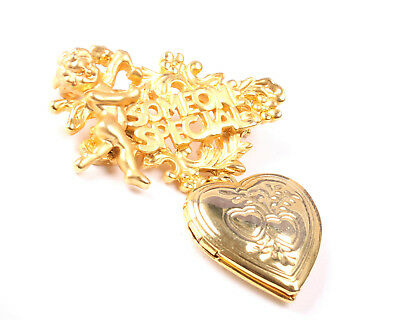 Vintage 1970s Someone Special brooch with Dangle Heart Locket