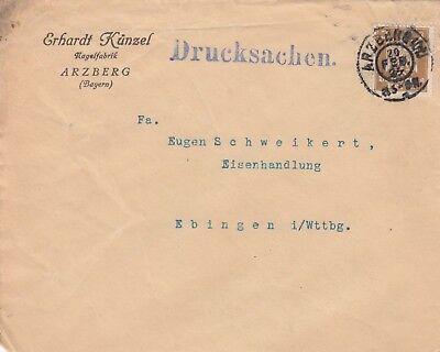 ARZBERG, Briefumschlag 1927, Erhardt Künzel Nagel-Fabrik