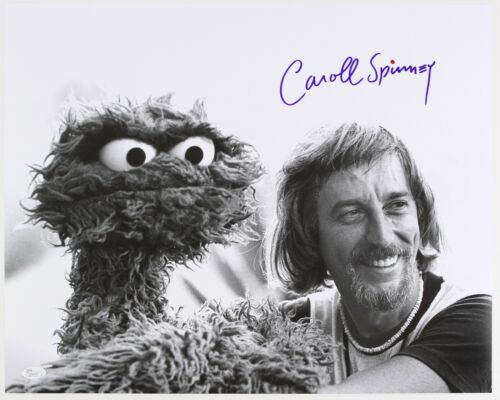 1970s Carroll Spinney & Oscar the Grouch LE Signed 16x20 B&W Photo (JSA)