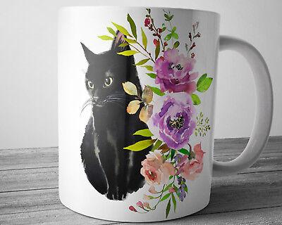 Black CAT Mug 11 oz Cat Lover Gift Pet Coffee Mug Cute Kitty Cup Gift for (11 Oz Cute Coffee Mug)