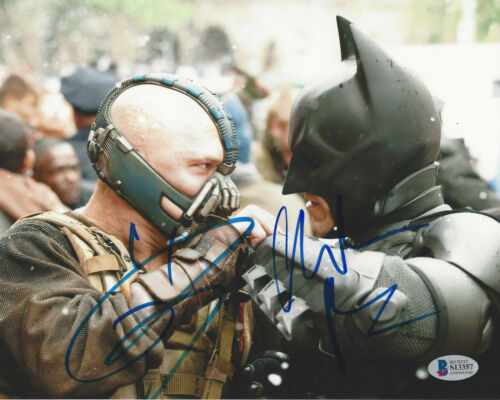 CHRISTIAN BALE & TOM HARDY SIGNED THE DARK KNIGHT RISES 8x10 PHOTO BECKETT BAS