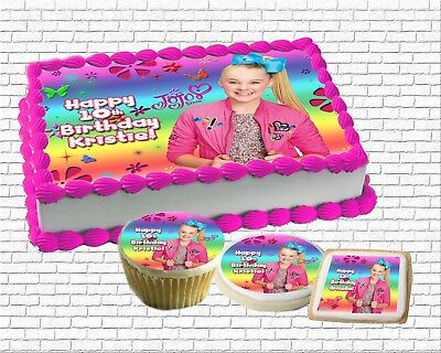 Jojo Siwa edible Birthday Cake topper paper sugar sheet picture cupcakes cookies - Birthday Painting