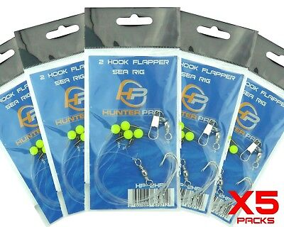 Sea Fishing Rigs X 5. 2 Hook Flapper Rig. Hunter Pro Sea Fishing Tackle Set