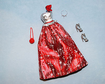 DAZZLING Red & Silver HOLIDAY Sleeveless BARBIE Evening Gown w/ Heels & Purse