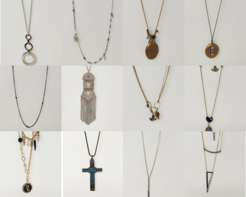 Wholesale Lot of 12 Vintage Style Long Necklaces Cross Charm Locket Stephan & Co