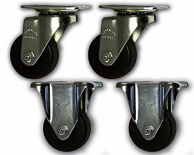 3-12 Faultless Casters W Rubber Wheel Top Plate - Swivelrigid 4 Pack