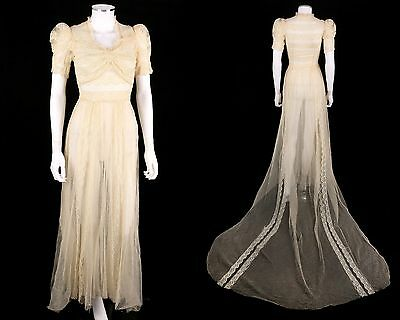 Vintage 1930s IVORY NET + LACE CATHEDRAL TRAIN WEDDING DRESS GOWN Size XS